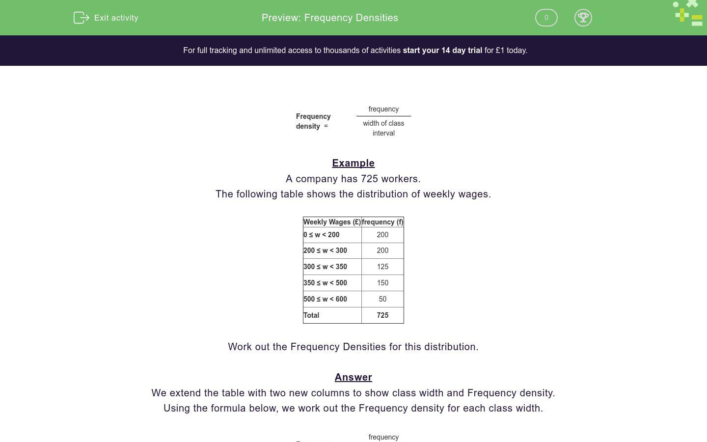 'Frequency Densities' worksheet