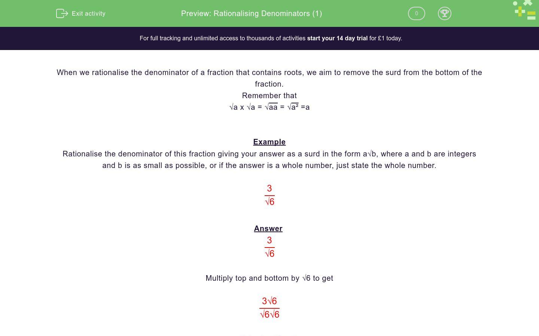 'Rationalising Denominators (1)' worksheet