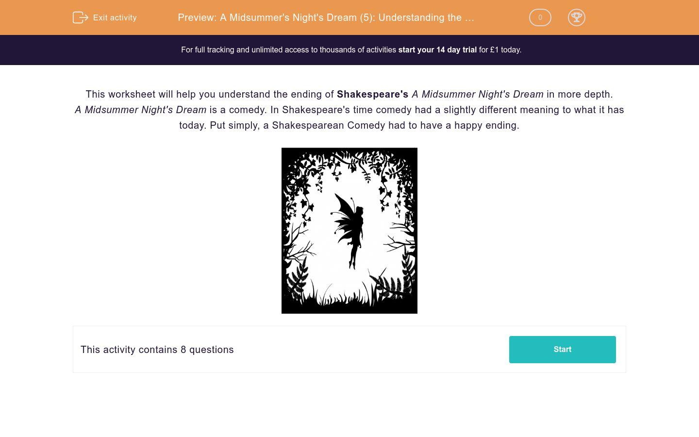 'A Midsummer's Night's Dream (5): Understanding the Ending' worksheet