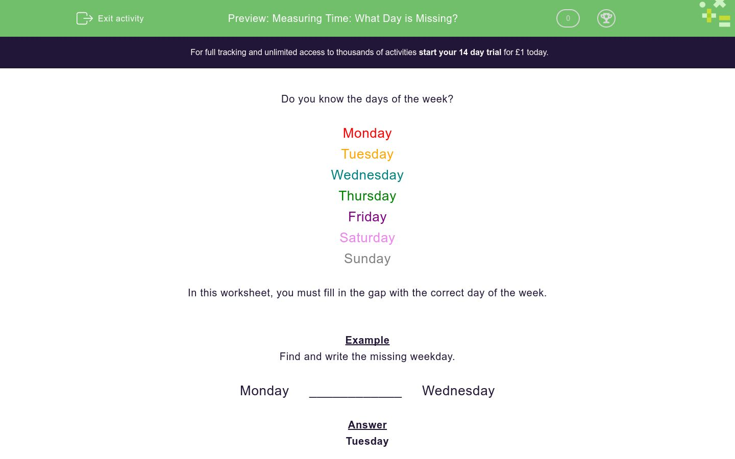 'Measuring Time: What Day is Missing?' worksheet