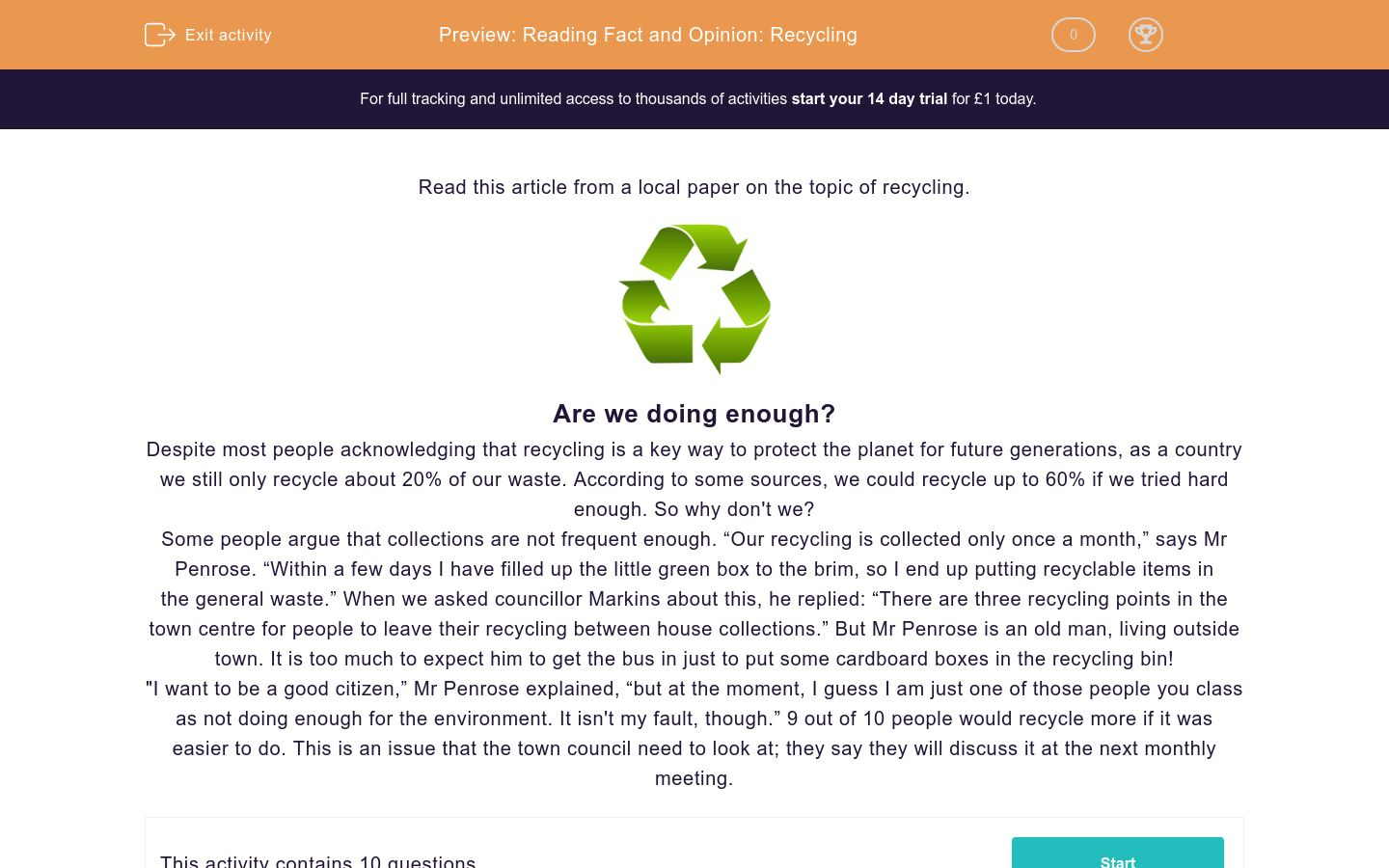 'Reading Fact and Opinion: Recycling' worksheet