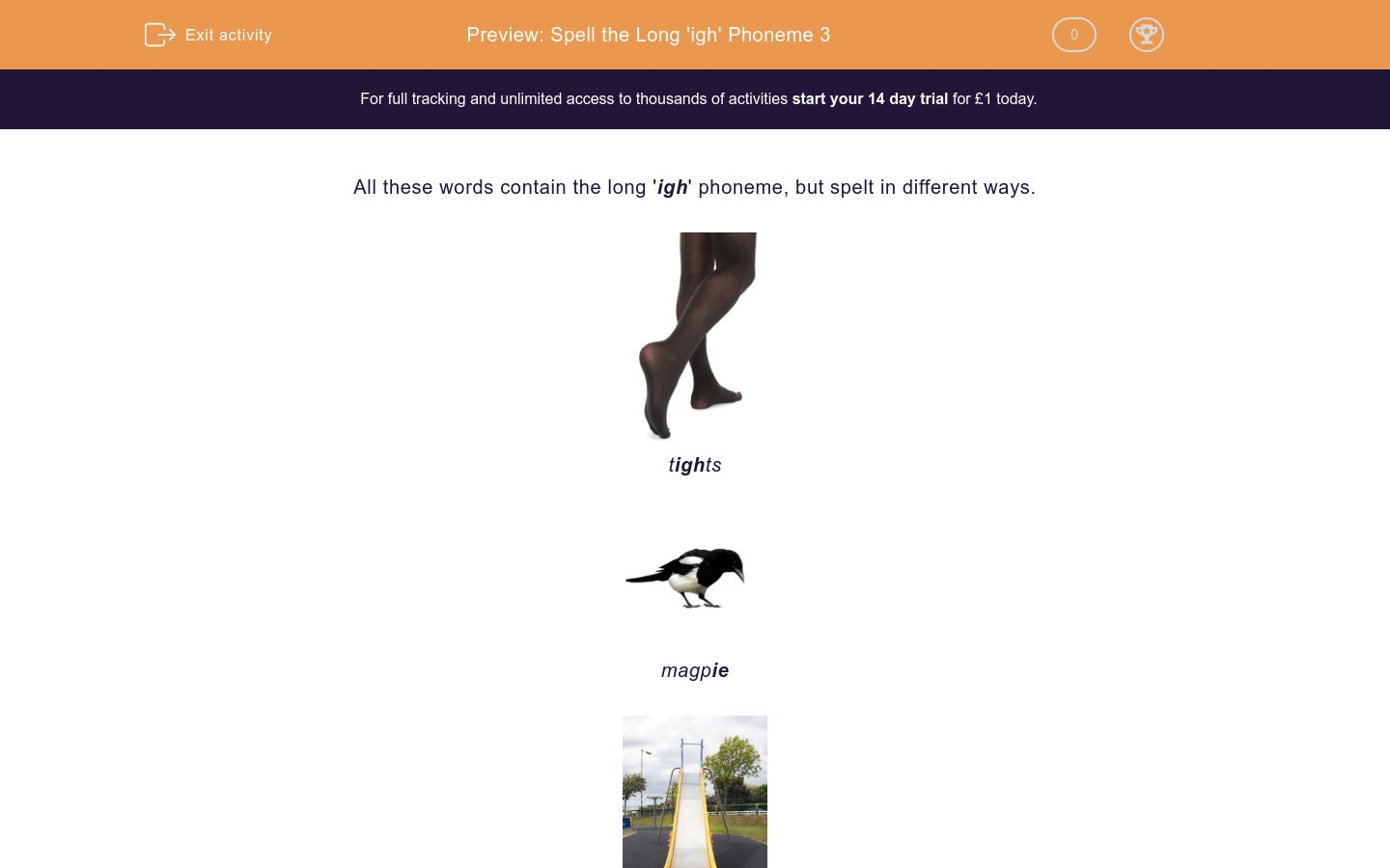 'Spell the Long 'igh' Phoneme 3' worksheet
