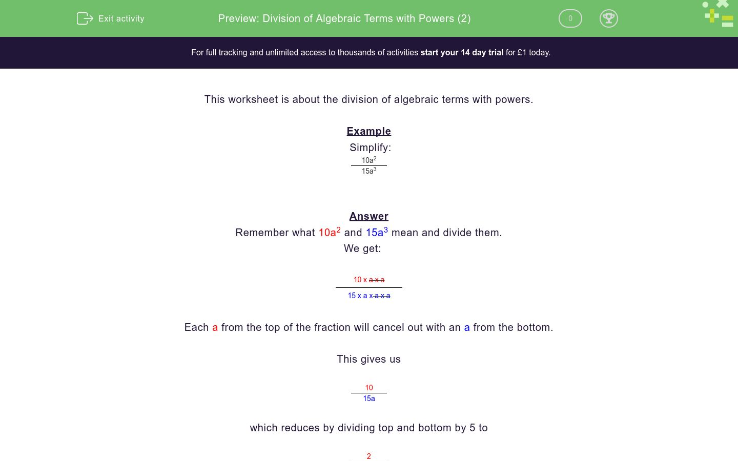 'Division of Algebraic Terms with Powers (2)' worksheet