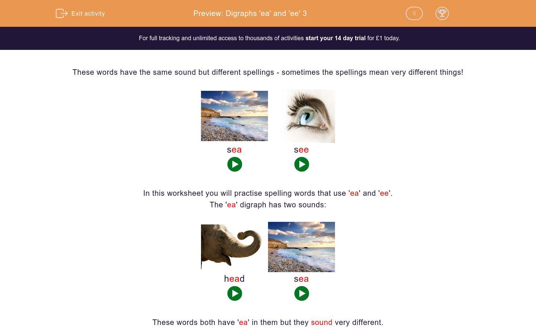 'Digraphs 'ea' and 'ee' 3' worksheet