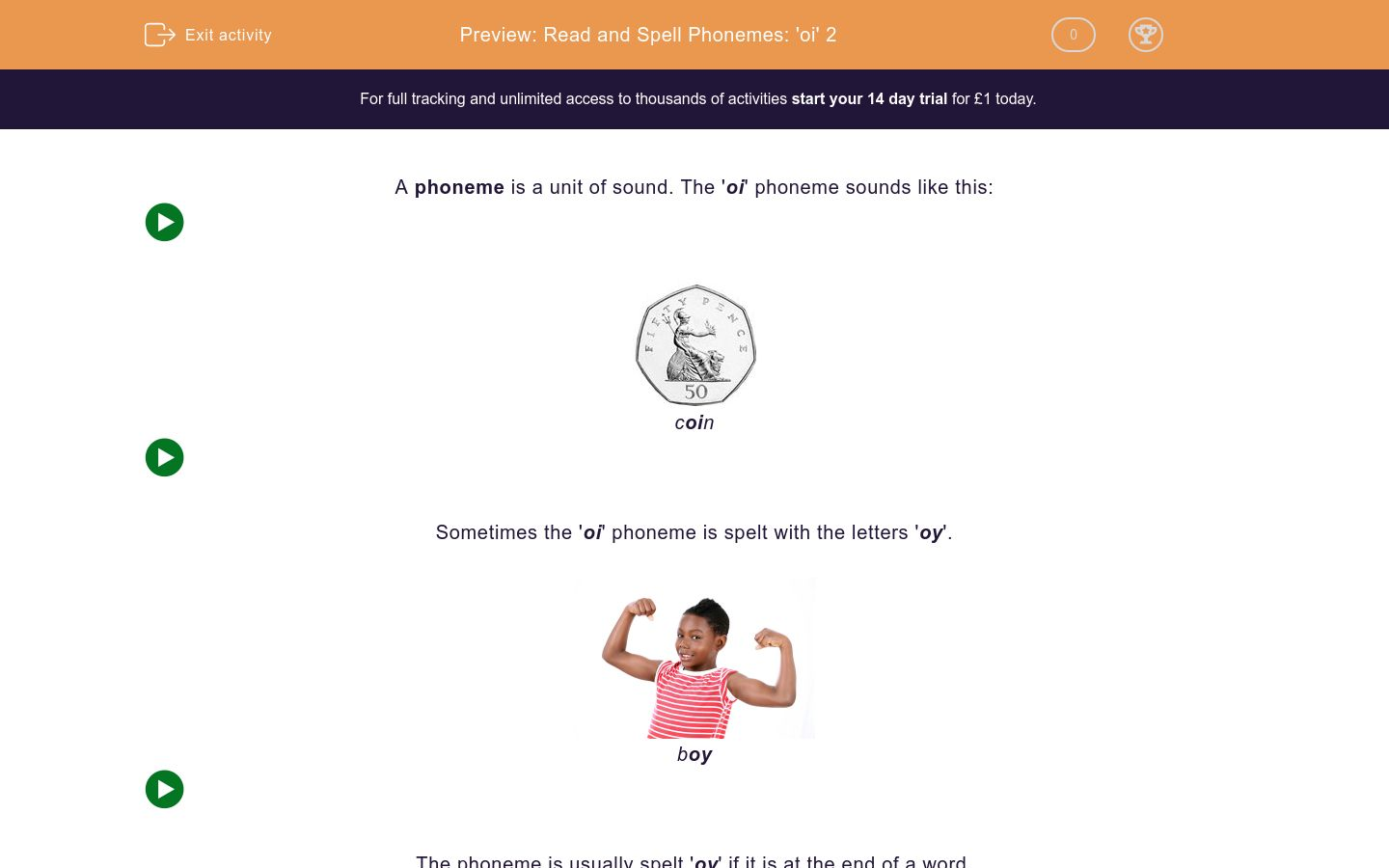 'Read and Spell Phonemes: 'oi' 2' worksheet