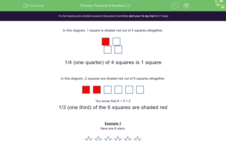 'Fractions of Numbers (1)' worksheet
