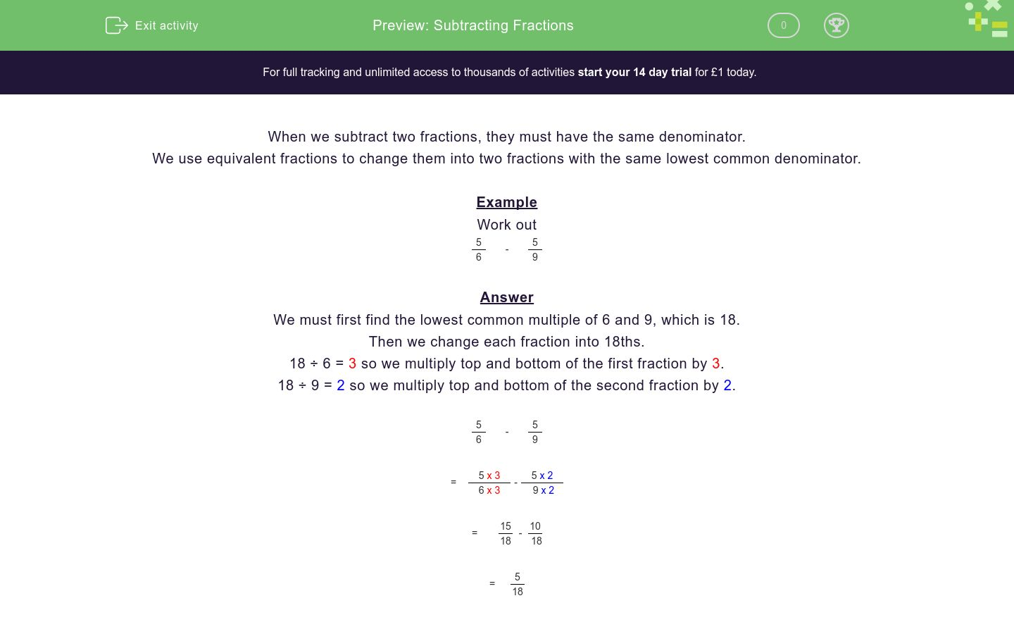'Subtracting Fractions' worksheet