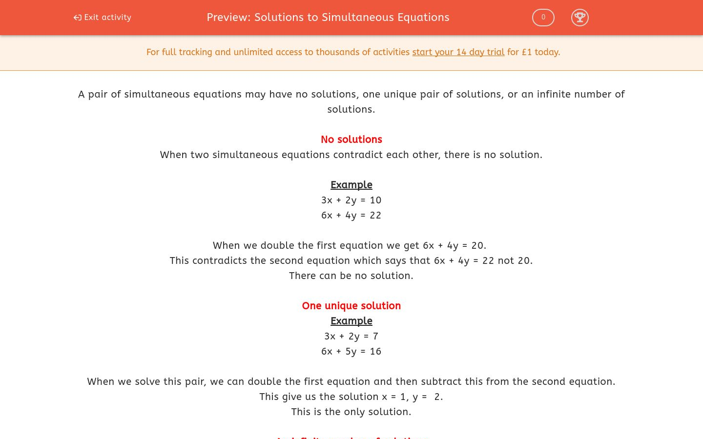 'Solutions to Simultaneous Equations' worksheet
