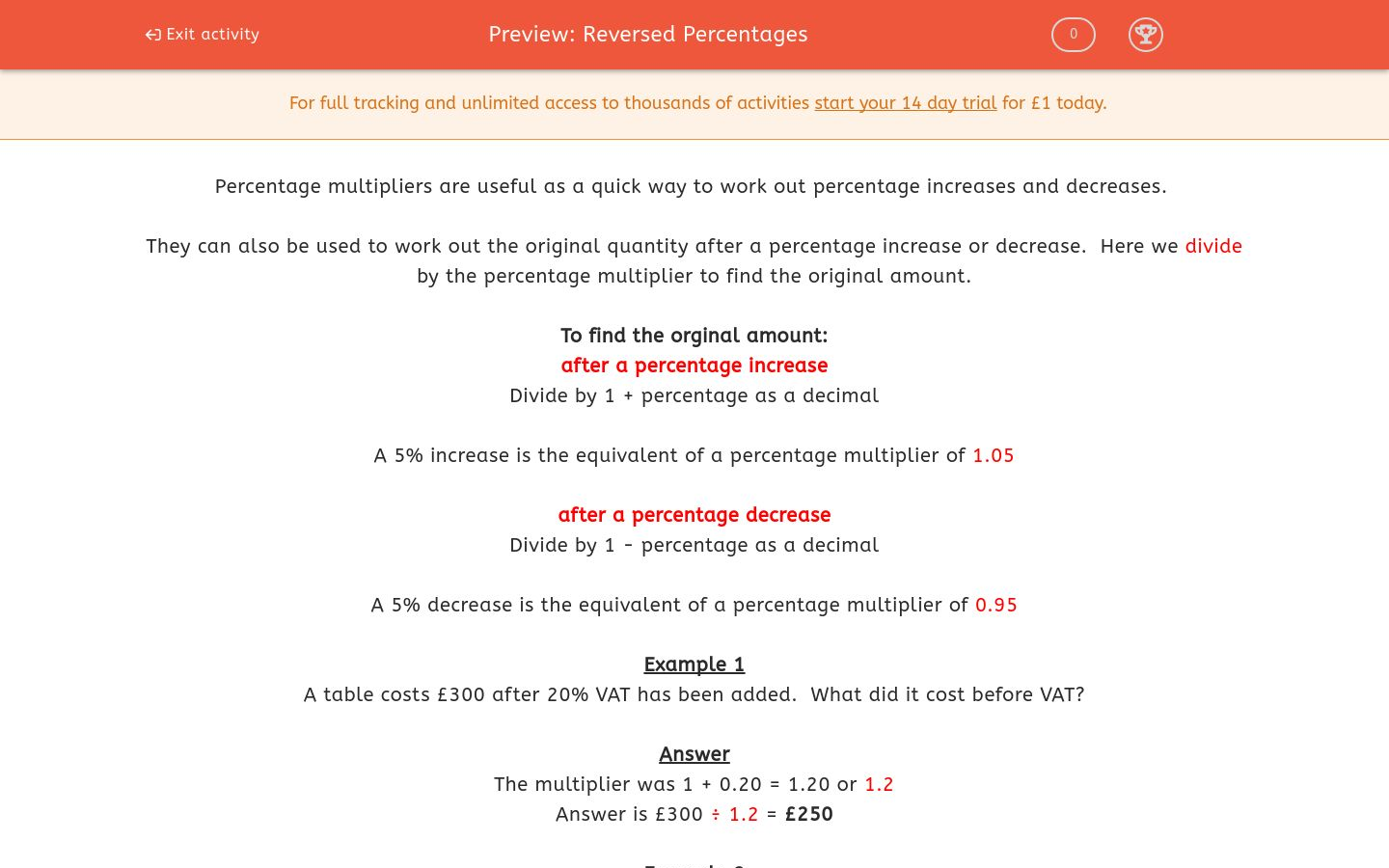 'Reversed Percentages' worksheet