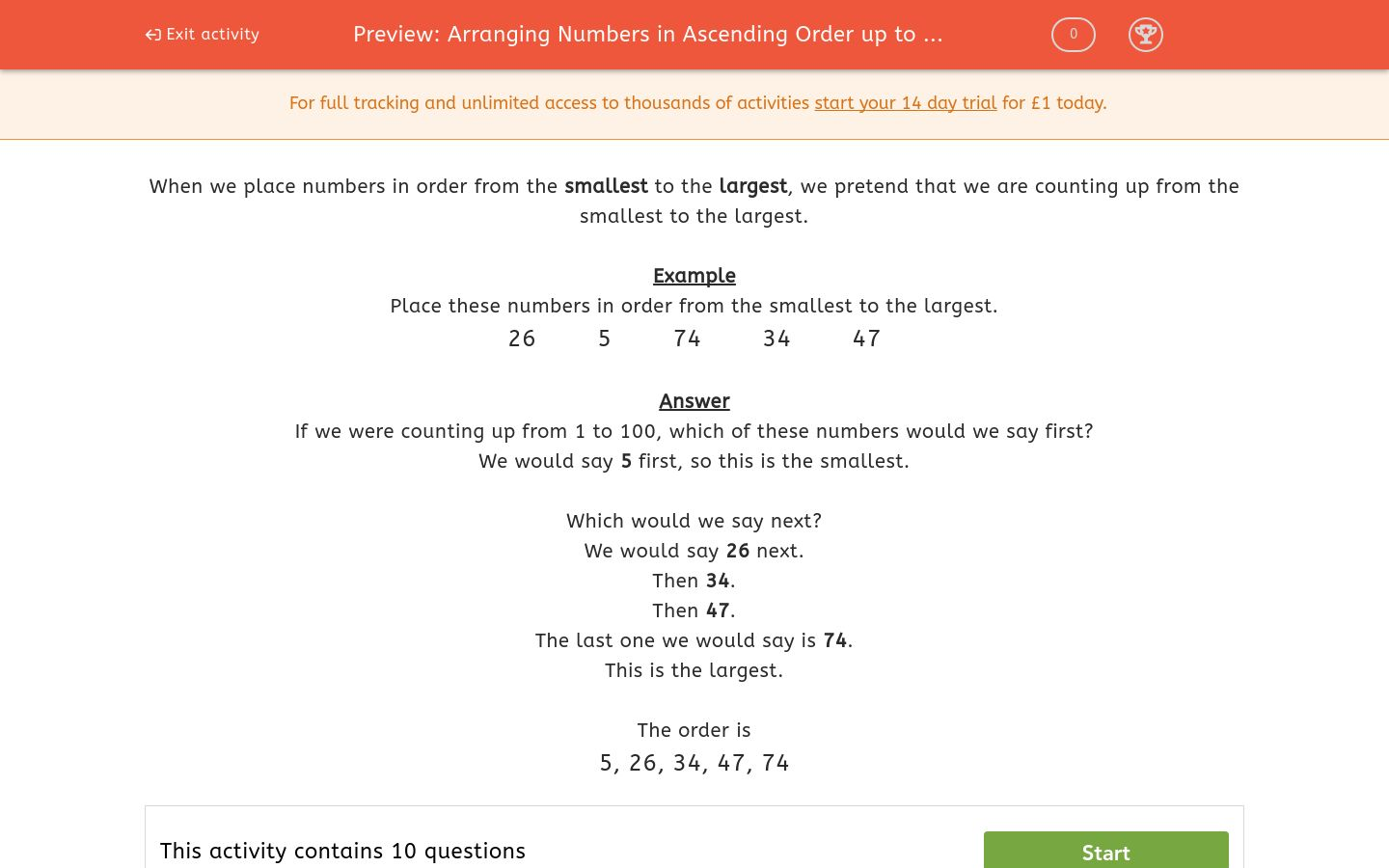 'Arranging Numbers in Ascending Order up to 100' worksheet