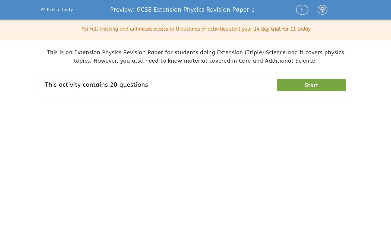 'GCSE Extension Physics Revision Paper 1' worksheet