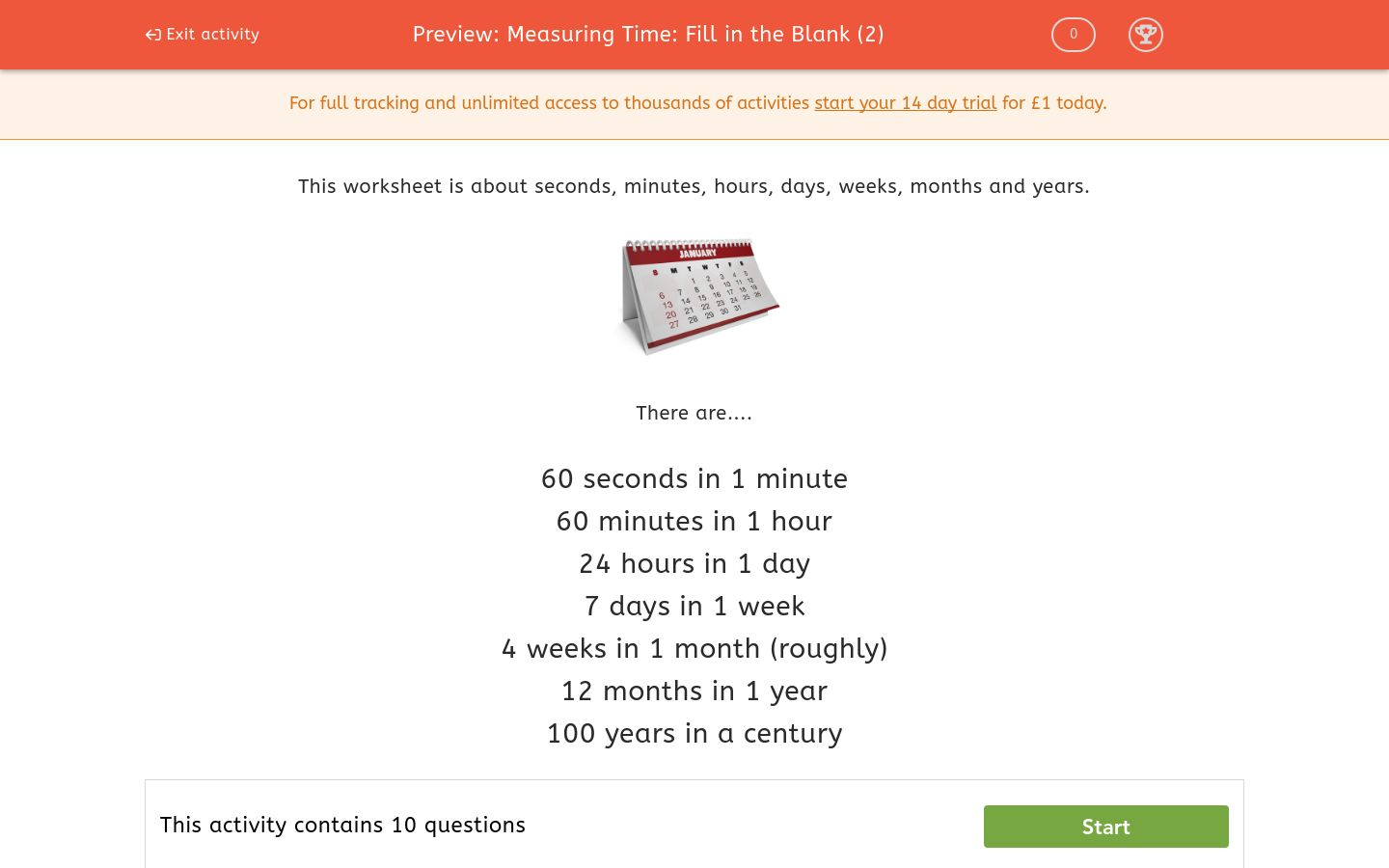 'Measuring Time: Fill in the Blank (2)' worksheet