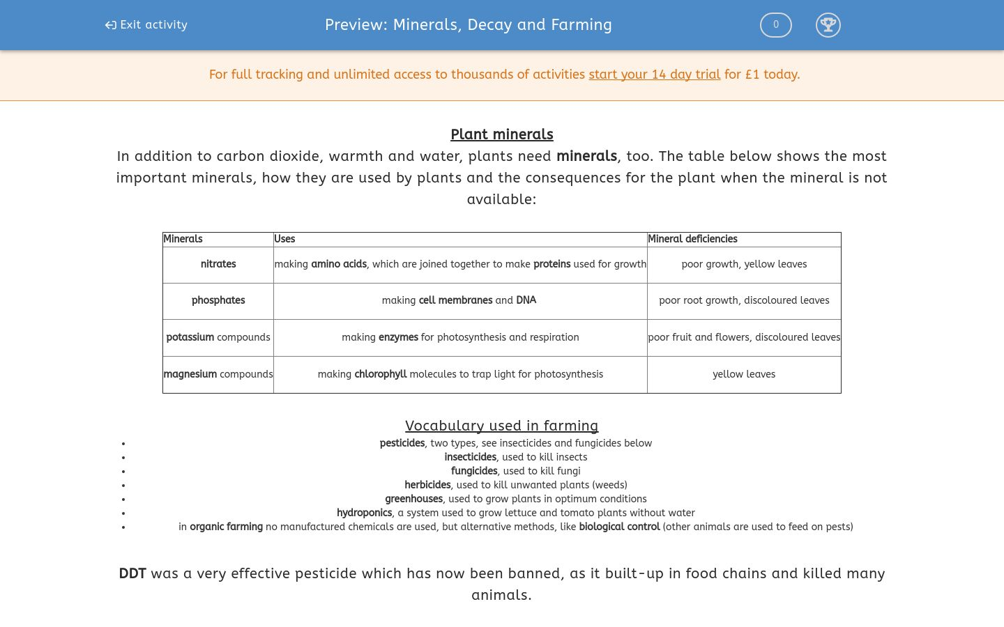 'Minerals, Decay and Farming' worksheet