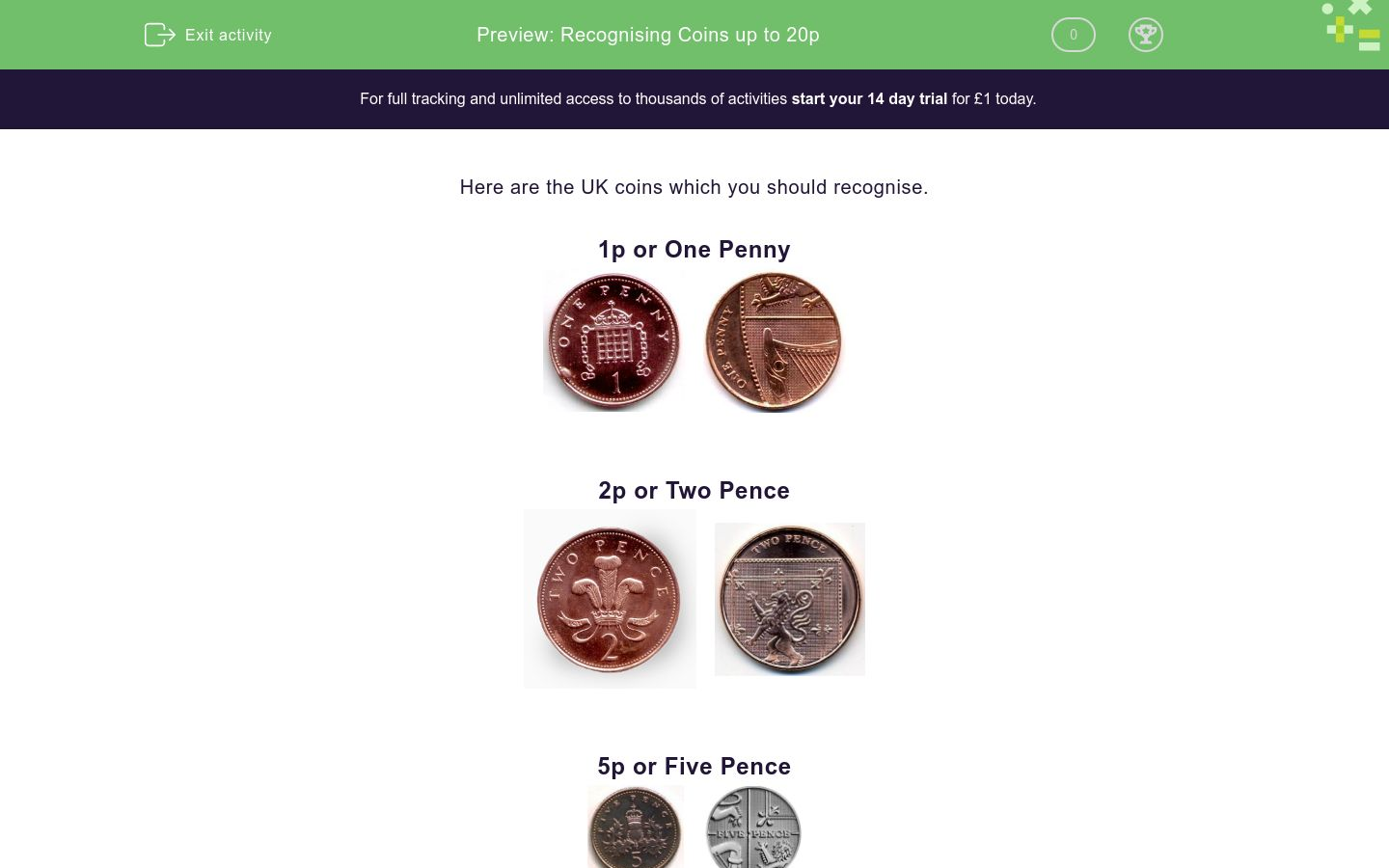 'Recognising Coins up to 20p' worksheet