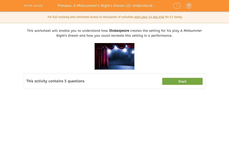 'A Midsummer's Night's Dream (2): Understanding the Setting' worksheet