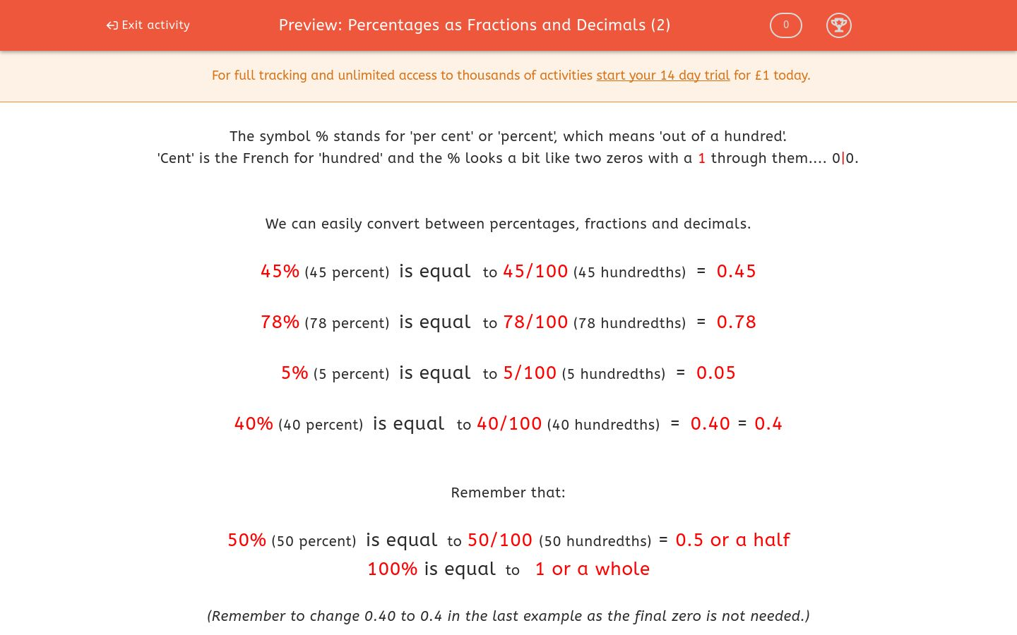 'Percentages as Fractions and Decimals (2)' worksheet