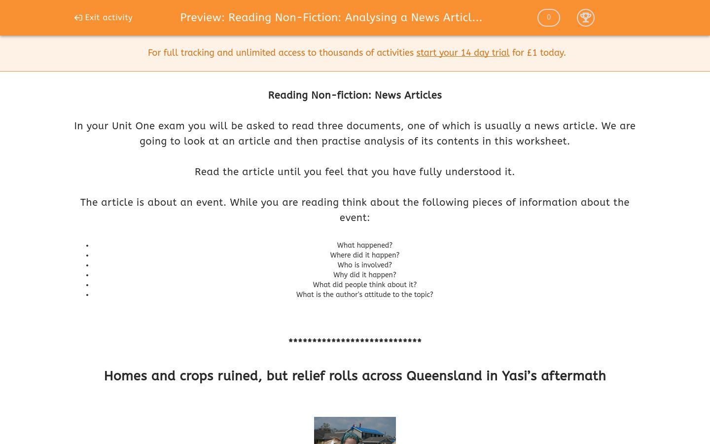 'Reading Non-Fiction: Analysing a News Article 2' worksheet