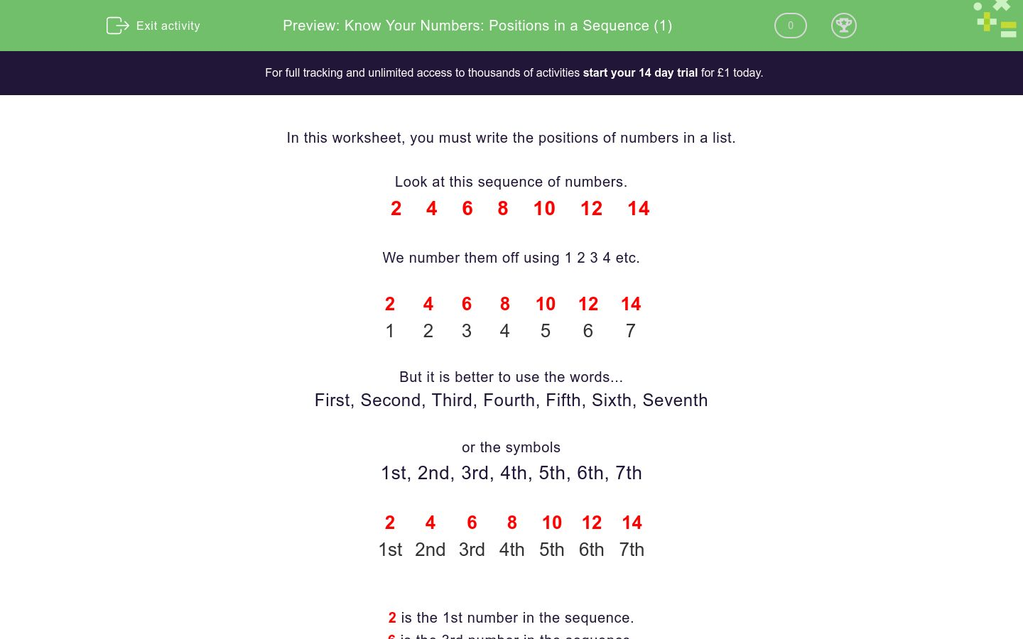 'Know Your Numbers: Positions in a Sequence (1)' worksheet
