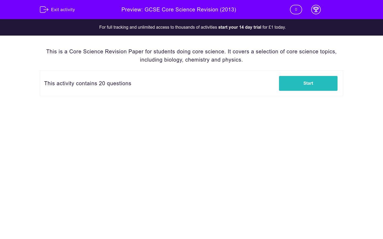 'GCSE Core Science Revision (2013)' worksheet