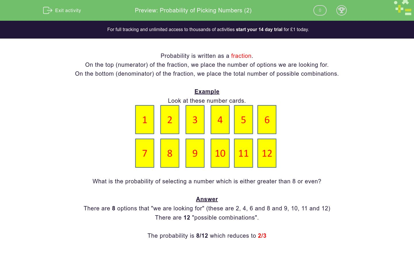 'Probability of Picking Numbers (2)' worksheet