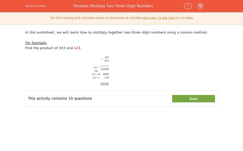 'Multiply Two Three-Digit Numbers' worksheet