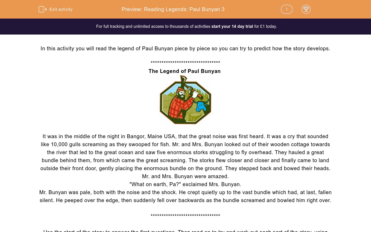 'Reading Legends: Paul Bunyan 3' worksheet