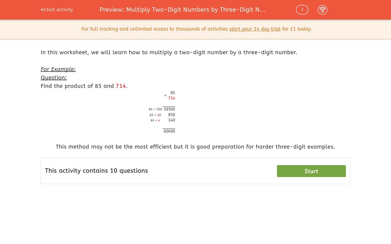'Multiply Two-Digit Numbers by Three-Digit Numbers' worksheet