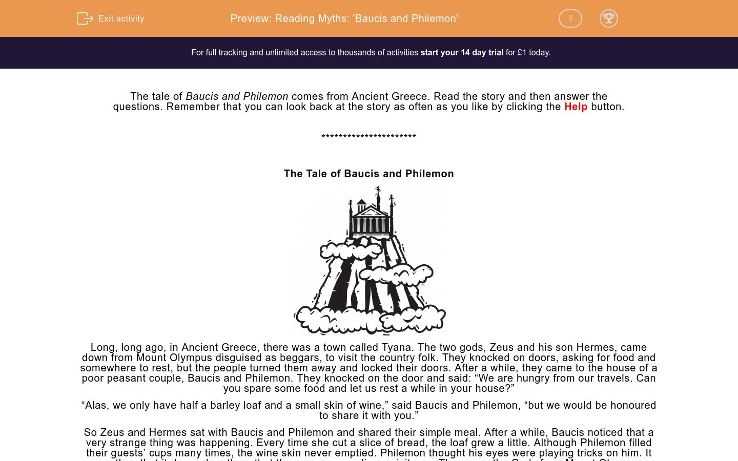 'Reading Myths: 'Baucis and Philemon'' worksheet