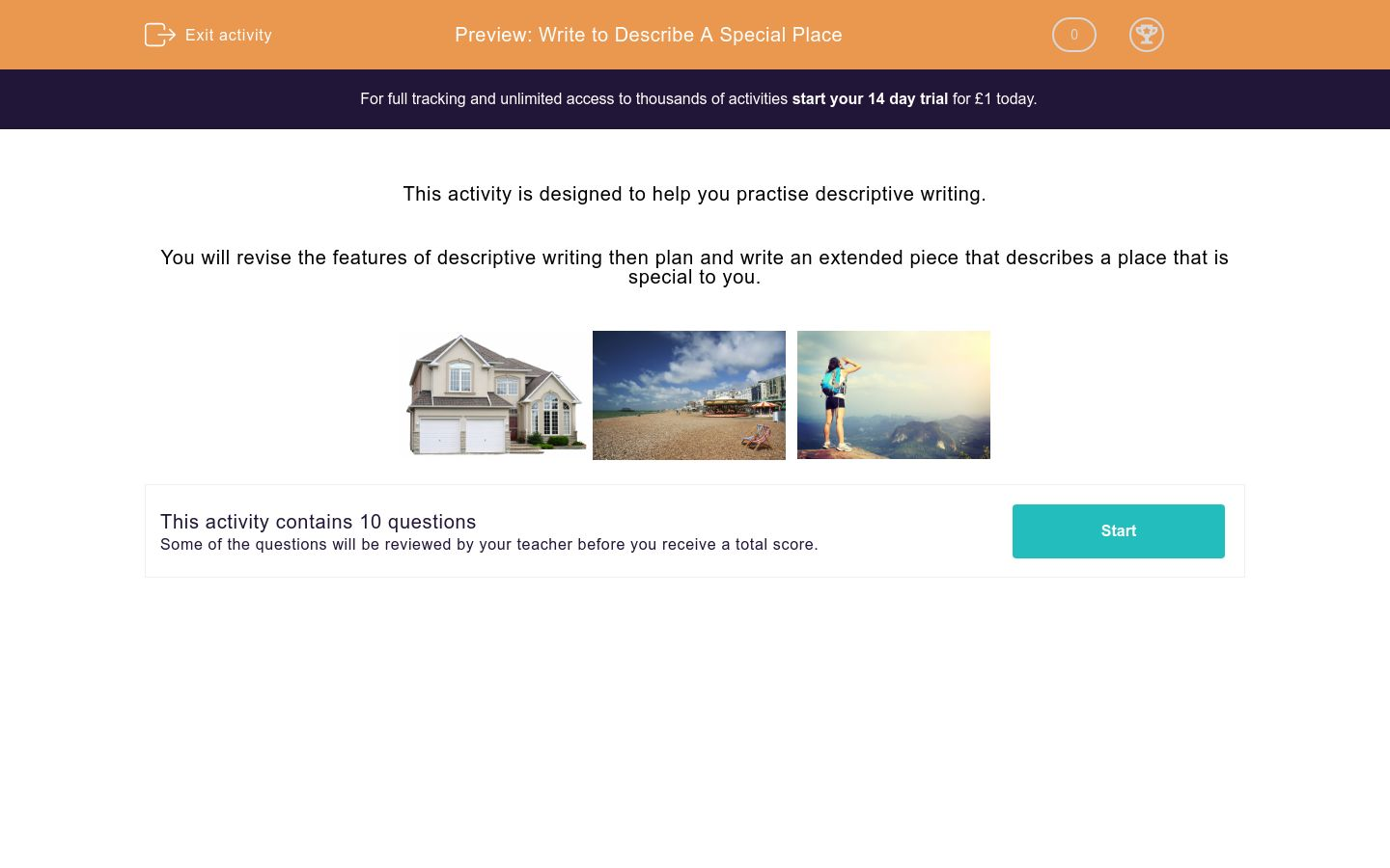 'Writing to Describe: A Special Place ' worksheet