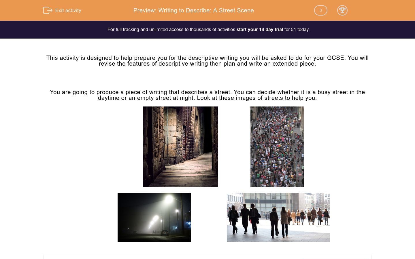'Writing to Describe: A Street Scene' worksheet