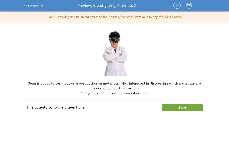 'Investigating Materials 2' worksheet