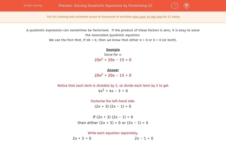'Solving Quadratic Equations by Factorising (2)' worksheet