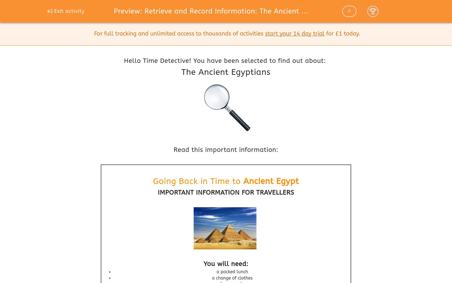'Retrieve and Record Information: The Ancient Egyptians 3' worksheet
