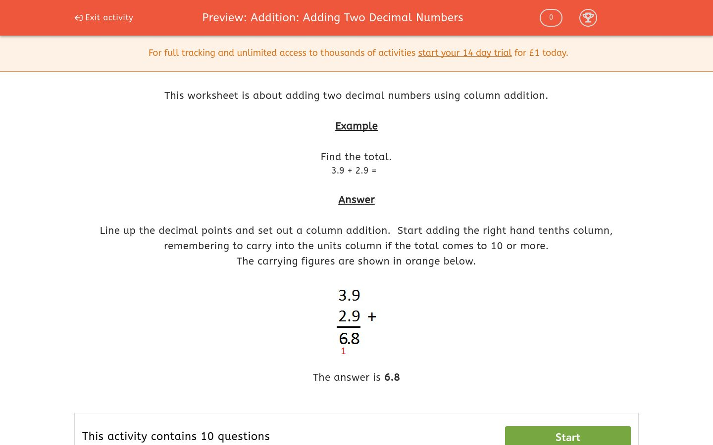 'Addition: Adding Two Decimal Numbers' worksheet