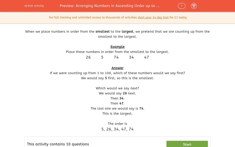 'Arranging Numbers in Ascending Order up to 100' worksheet