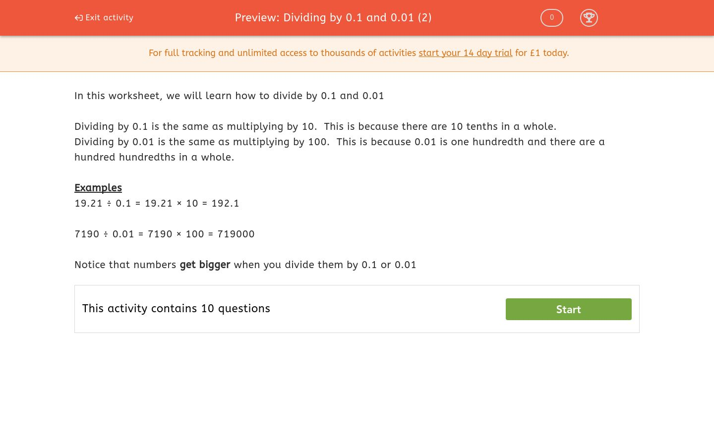 'Dividing by 0.1 and 0.01 (2)' worksheet