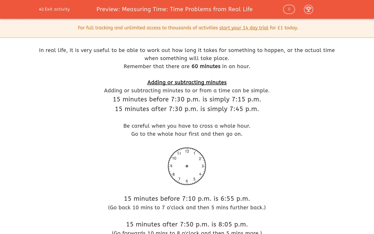 'Measuring Time: Time Problems from Real Life' worksheet
