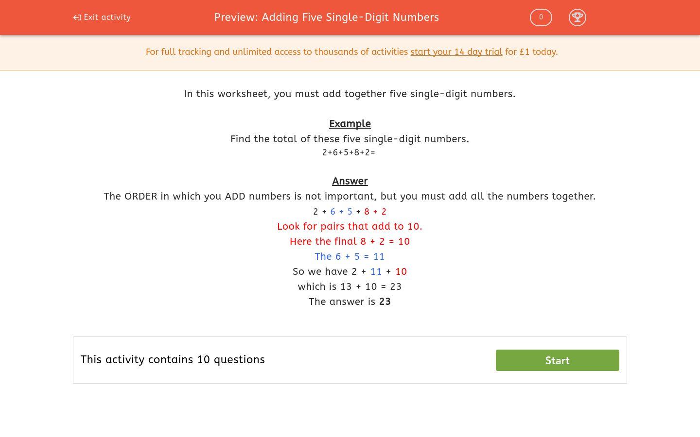 'Adding Five Single-Digit Numbers' worksheet