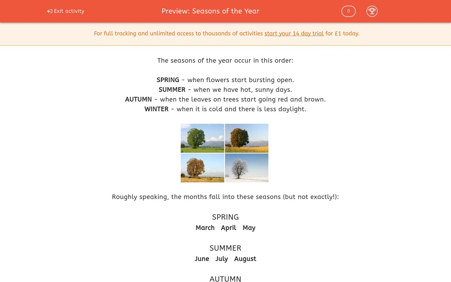 'Seasons of the Year' worksheet