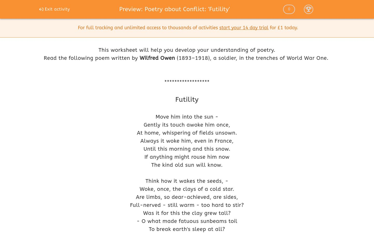 'Poetry about Conflict: 'Futility'' worksheet