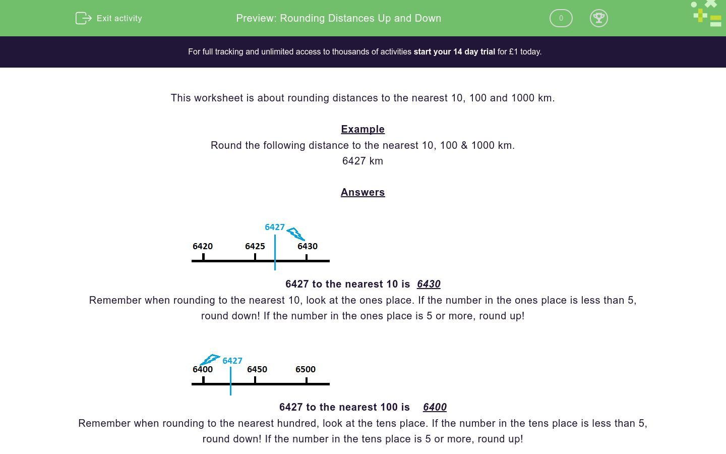 'Rounding Distances Up and Down' worksheet