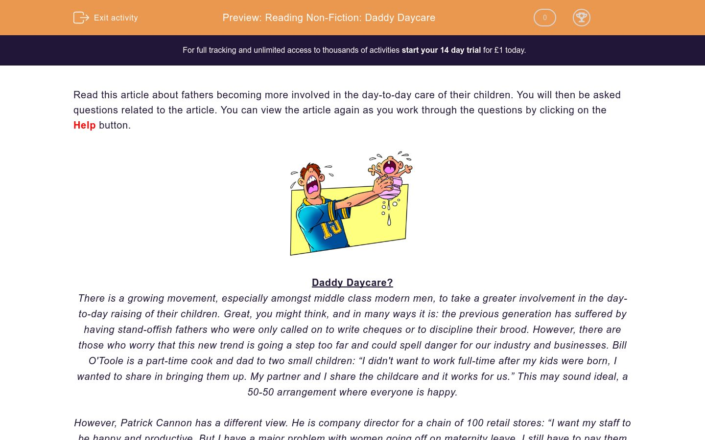 'Reading Non-Fiction: Daddy Daycare' worksheet