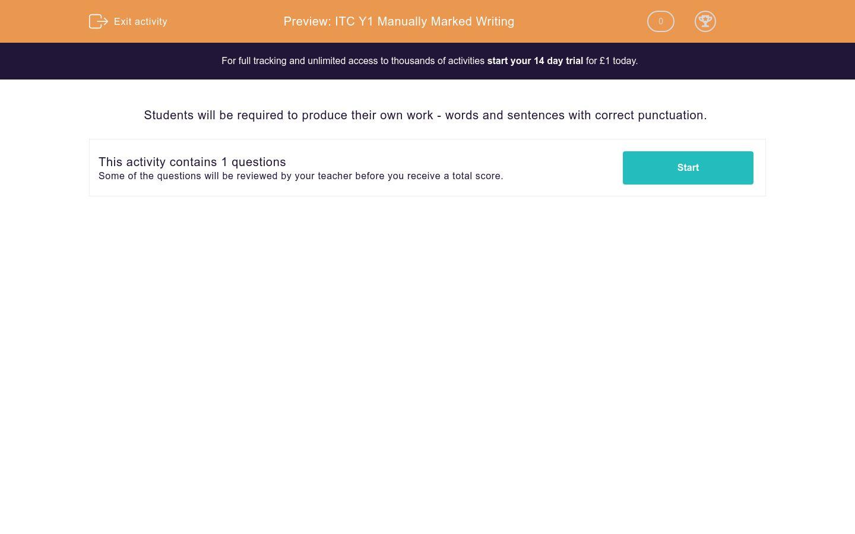 'ITC Y1 Manually Marked Writing' worksheet