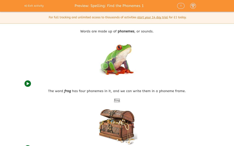 'Spelling: Find the Phonemes 1' worksheet