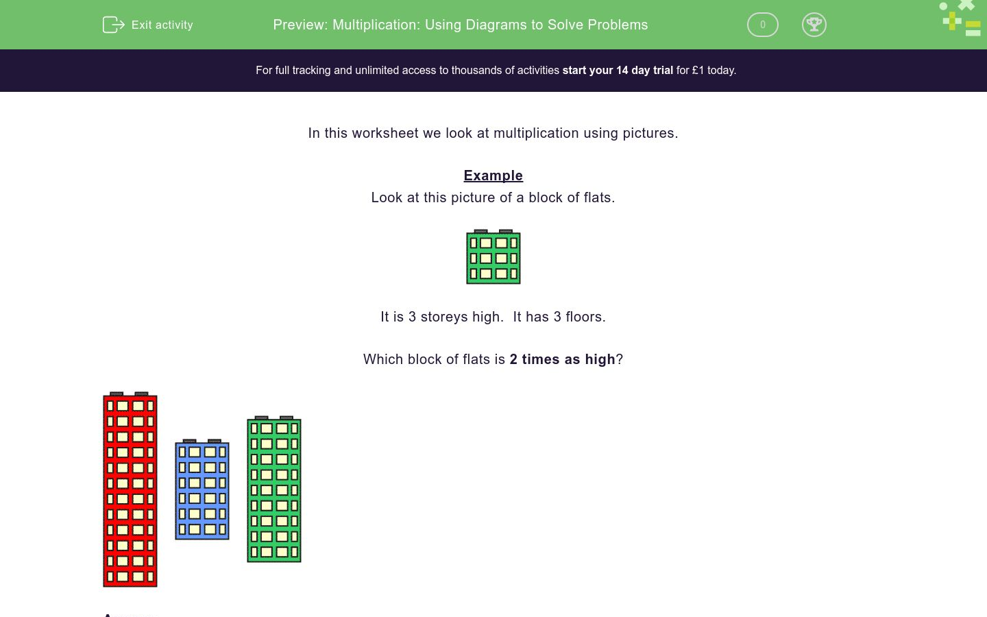 'Multiplication: Using Diagrams to Solve Problems' worksheet