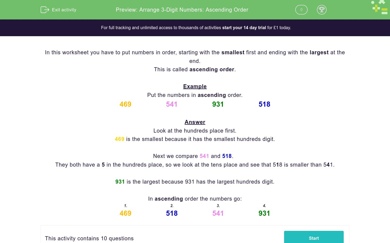 Arrange 3-Digit Numbers: Ascending Order Worksheet - EdPlace