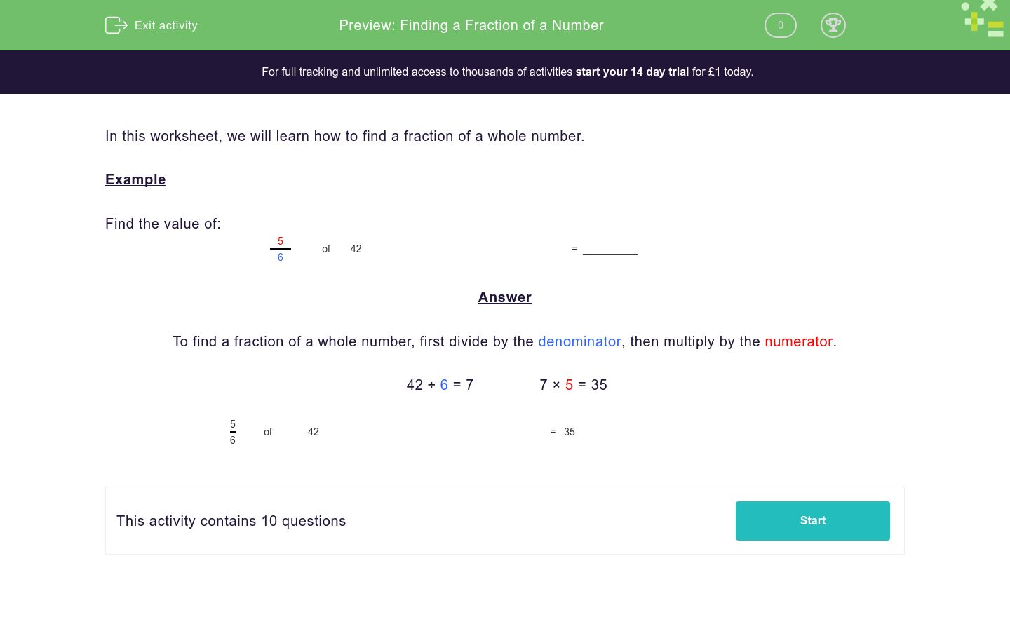'Finding a Fraction of a Number' worksheet