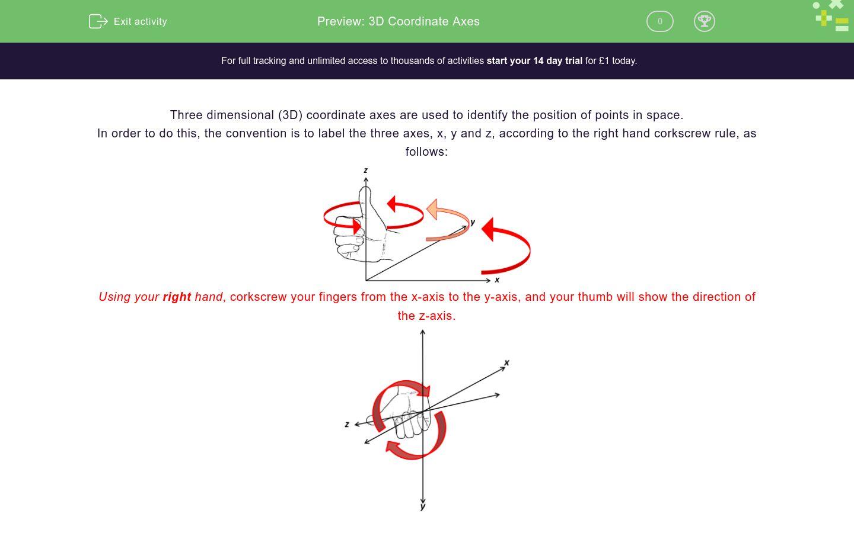 '3D Coordinate Axes' worksheet