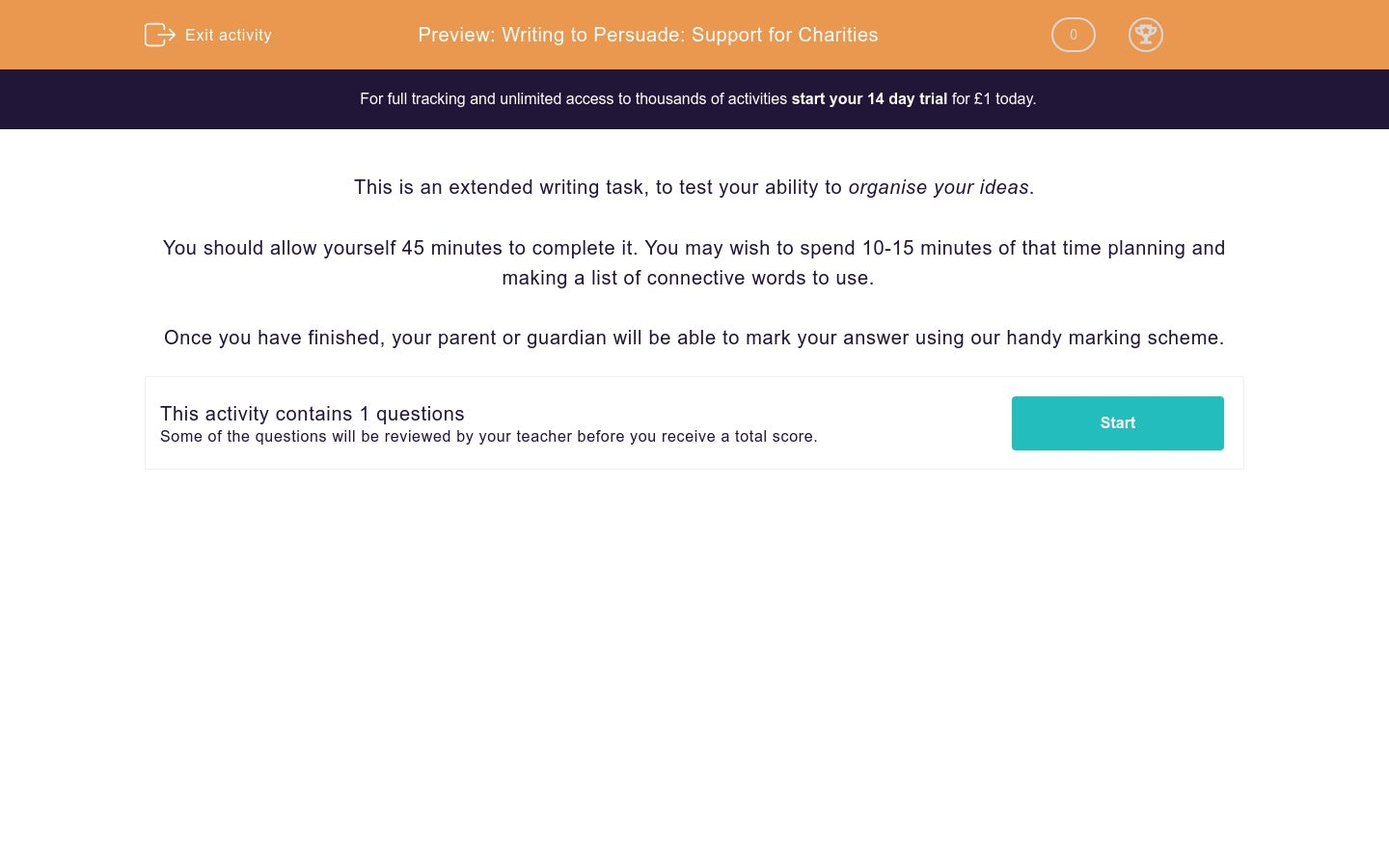 'Writing to Persuade: Support for Charities' worksheet