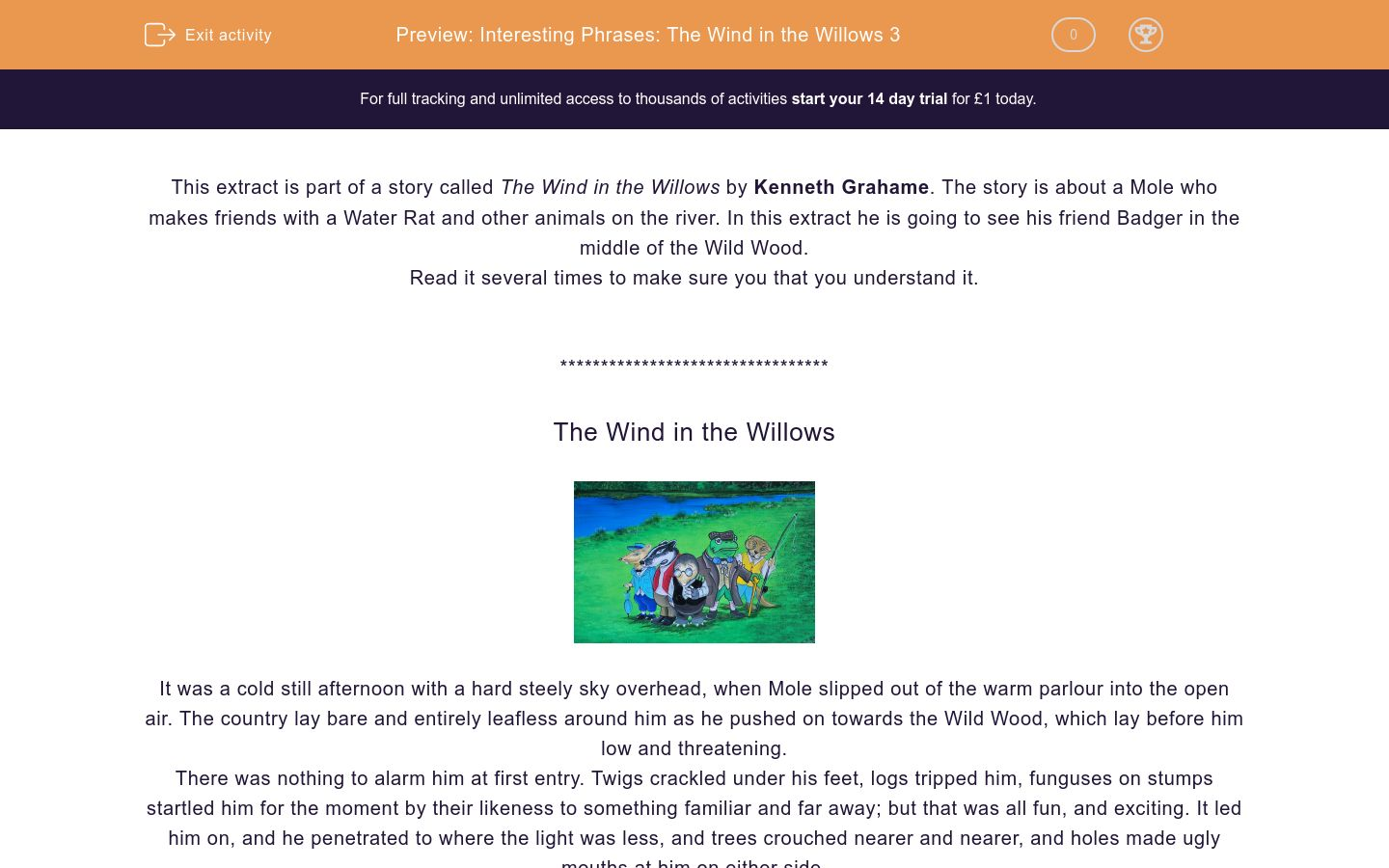 'Interesting Phrases: The Wind in the Willows 3' worksheet